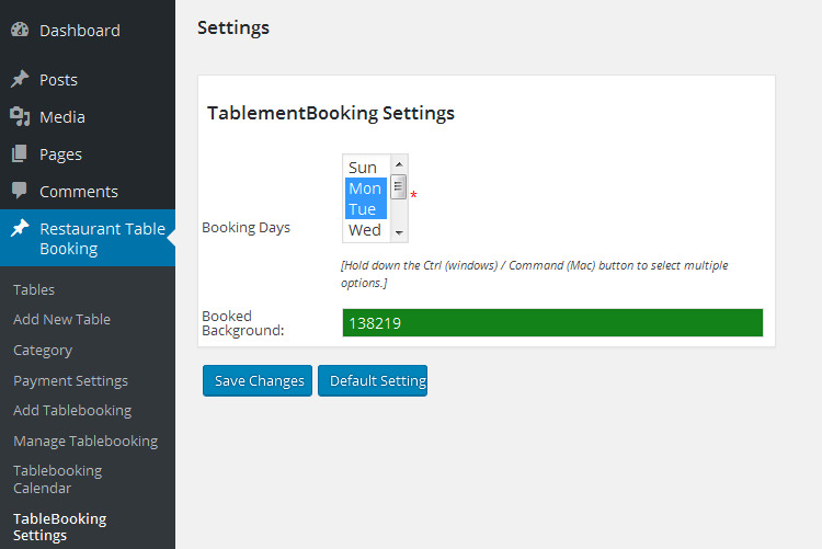 Admin Table Booking Settings